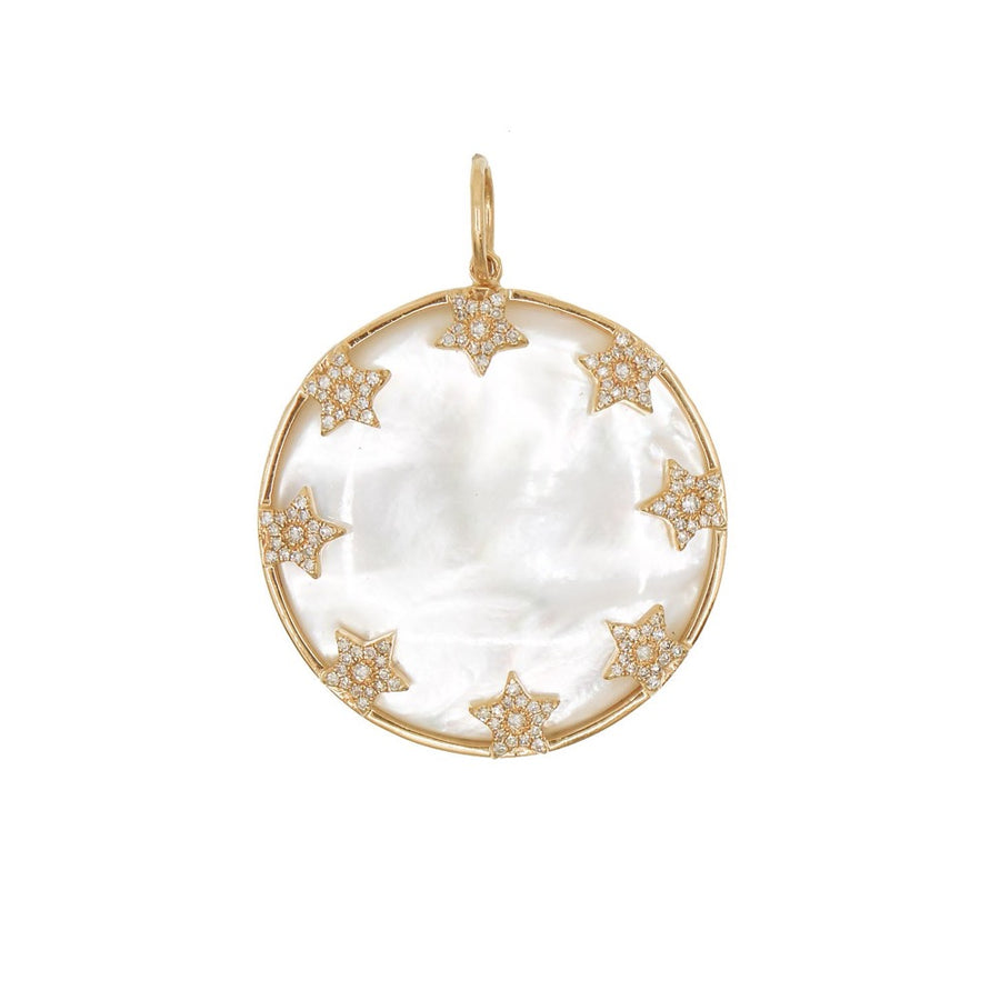 Gold Mother Of Pearl Multi Star Pendant - 14kT Gold - Monisha Melwani Jewelry
