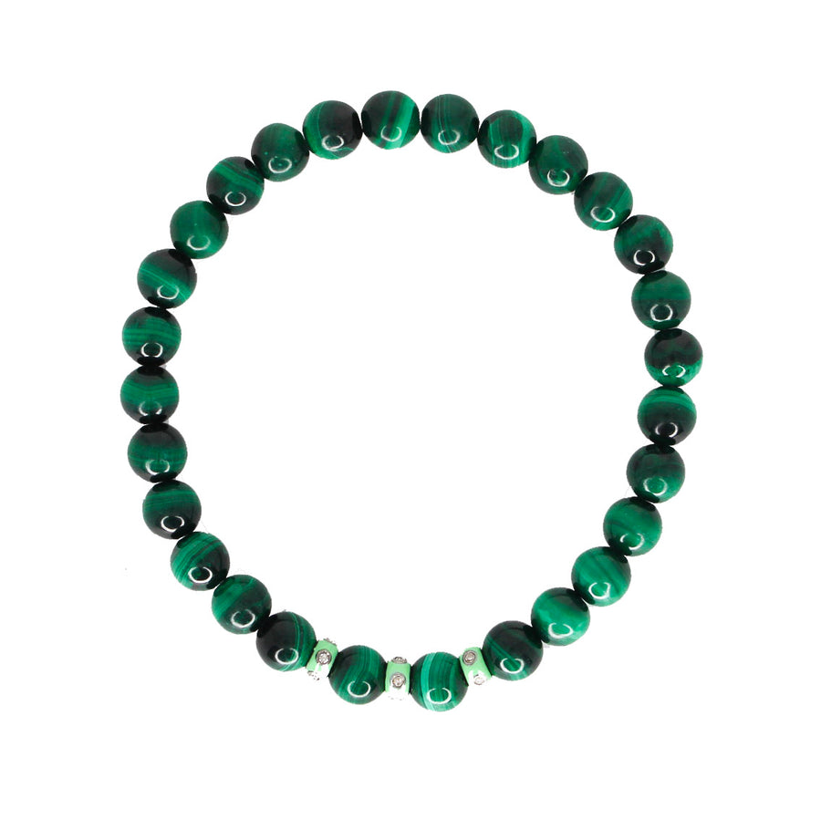 Mens Malachite Silver Enamel Diamond Bracelet- Monisha Melwani Jewelry