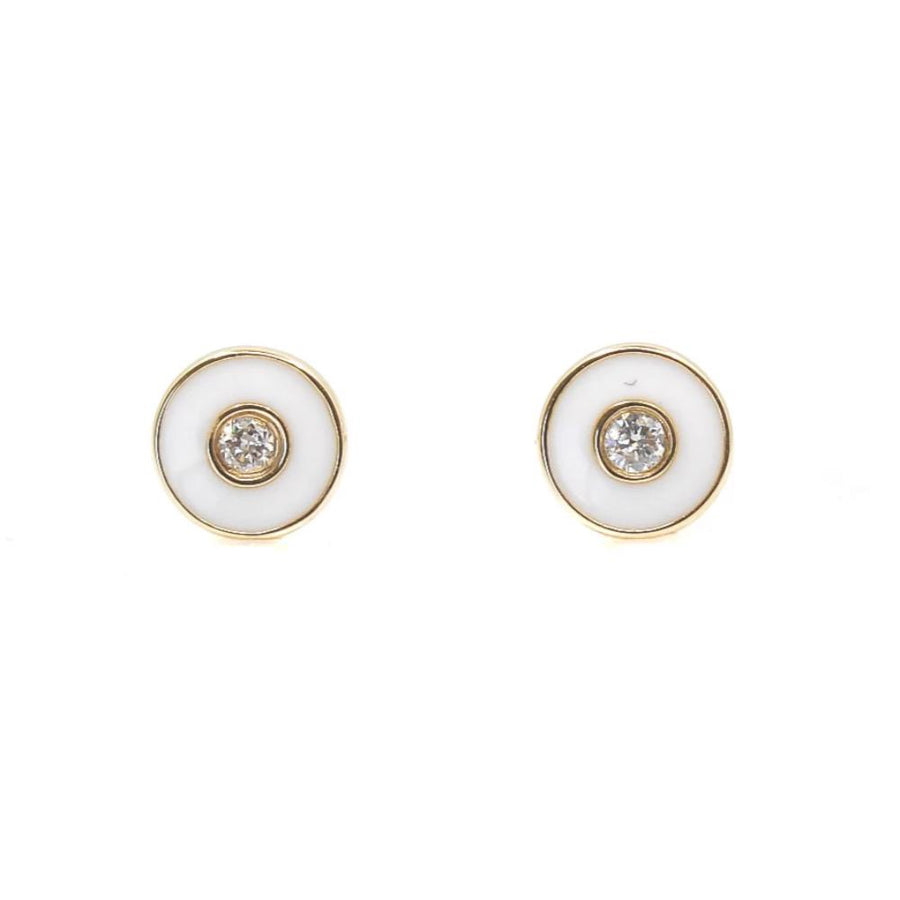 White Enamel Evil Eye Diamond Earrings - 14KT Gold - Monisha Melwani Jewelry