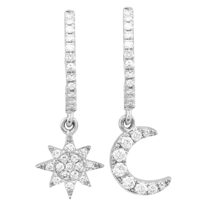 Diamond Star & Moon Hoop Earrings - 14KT Gold - Monisha Melwani Jewelry
