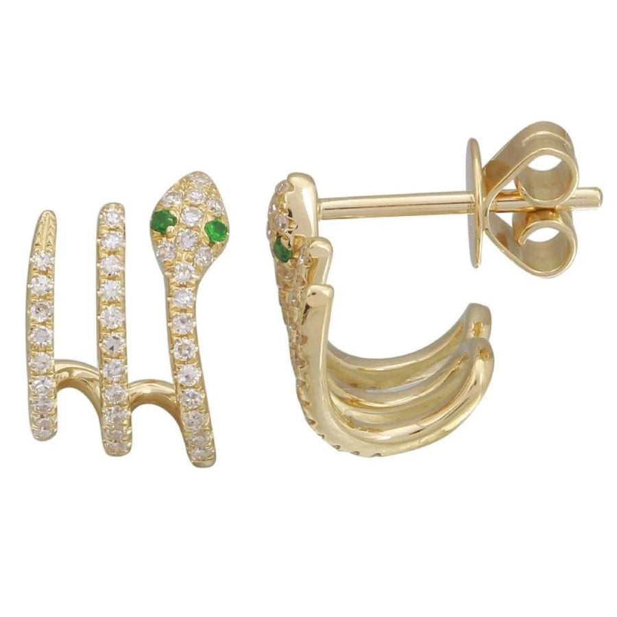 Diamond Snake Cuff Earrings - 14KT Gold - Monisha Melwani Jewelry