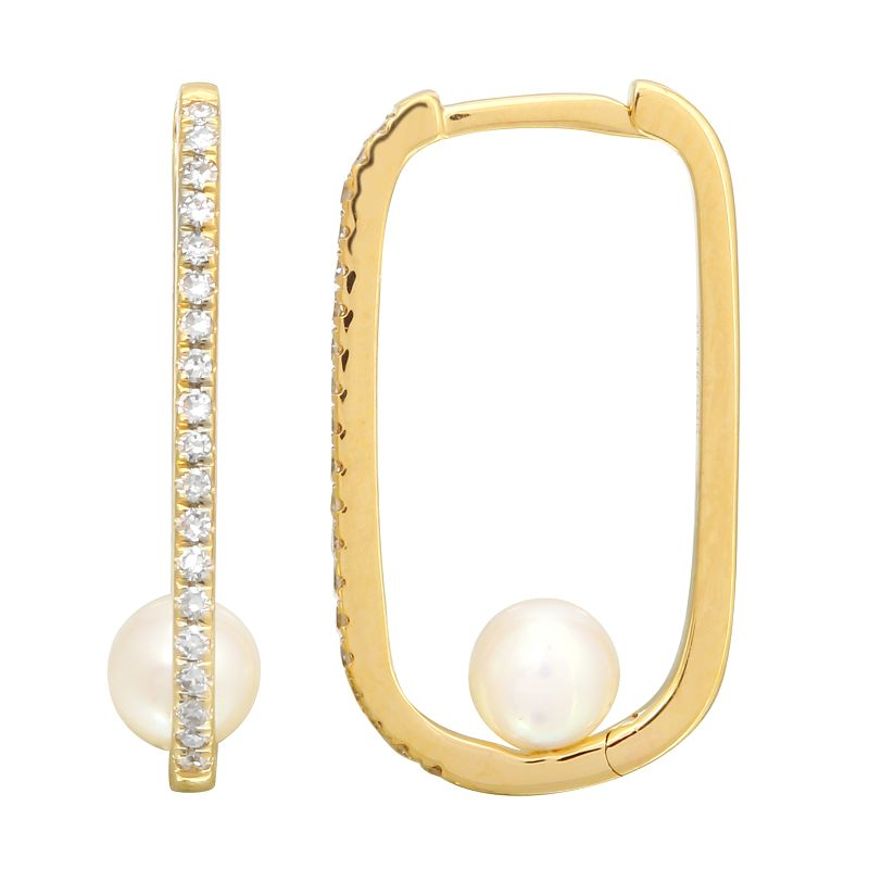 Gold Rectangle Diamond Hoop With Mother of Pearl - 14KT Gold - Monisha Melwani Jewelry