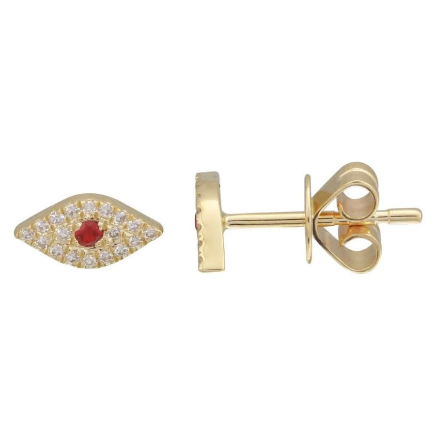 Gold Diamond Ruby Evil Eye Earring - 14KT Gold - Monisha Melwani Jewelry