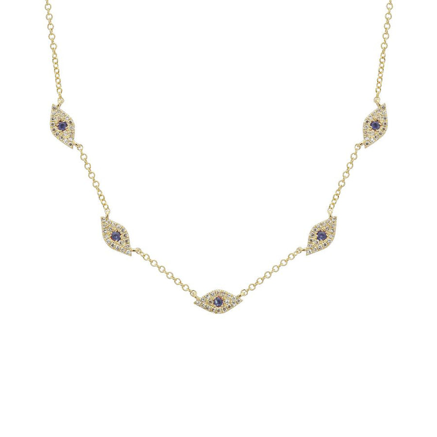 Gold Five Diamond Evil Eye Necklace