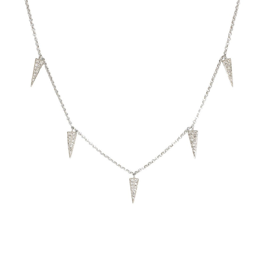 Gold Diamond Triangle Drop Necklace