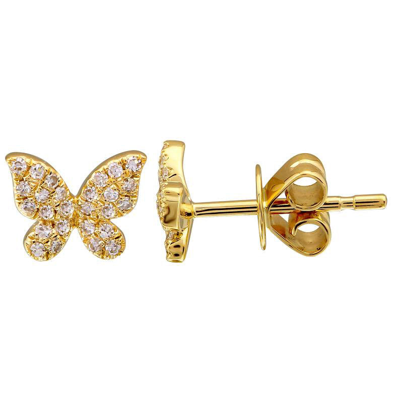 Gold Pave Diamond Butterfly Earring - 14kt Gold - Monisha Melwani Jewelry