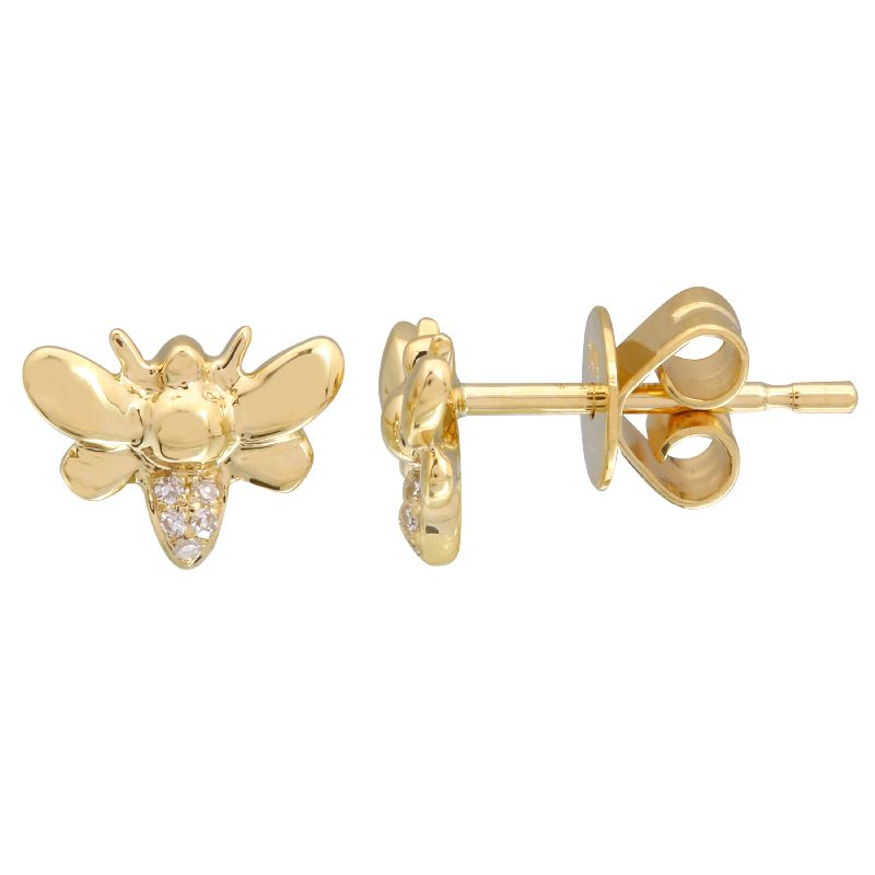 Diamond Gold Bee Earrings - 14KT Gold - Monisha Melwani Jewelry