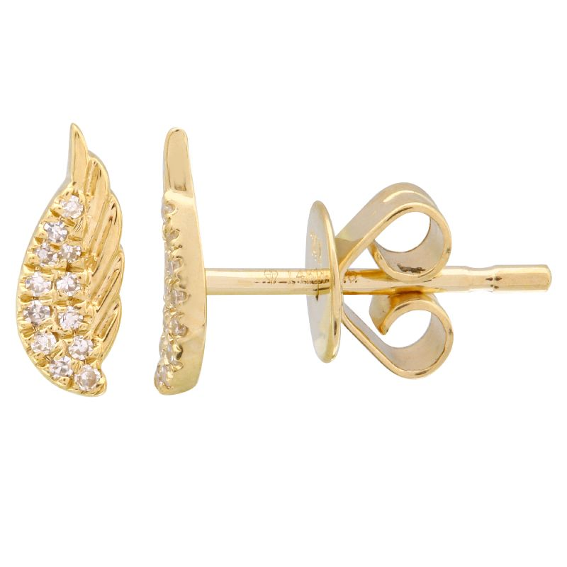 14KT Gold Diamond Angel Wing Earring Fine Jewelry
