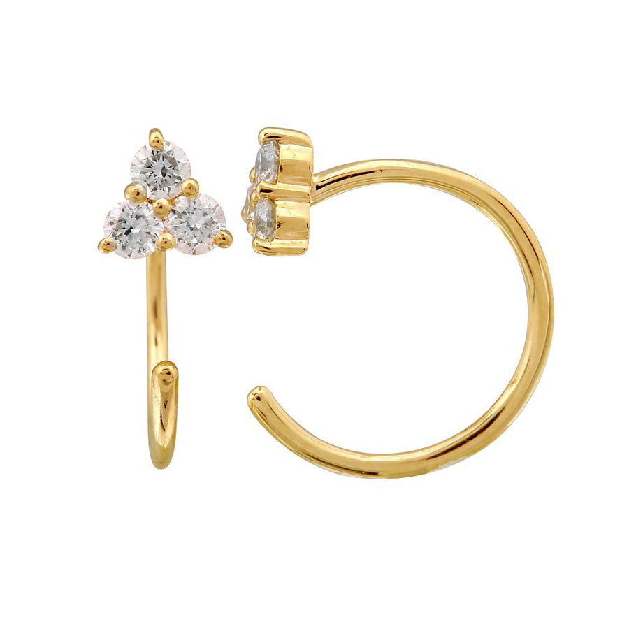 Gold Diamond Trio Threader Earrings - 14KT Gold - Monisha Melwani Jewelry