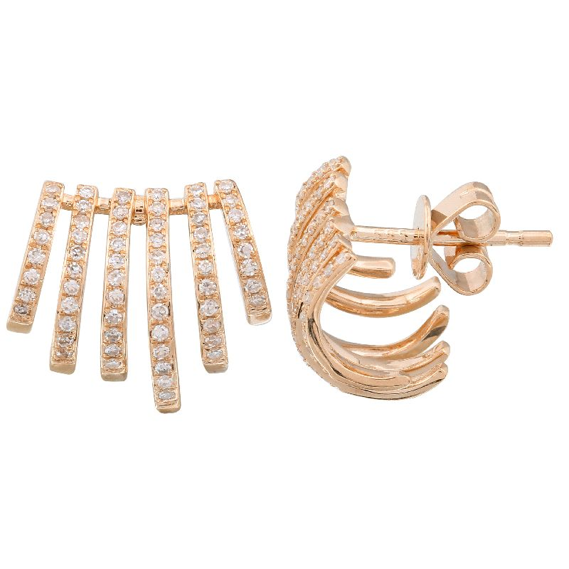 Gold Six Diamond Cage Earring - 14KT Gold - Monisha Melwani Jewelry