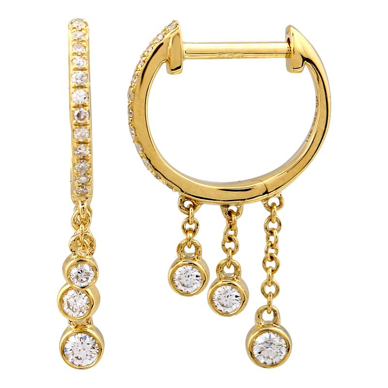 Gold Diamond Bezel Dangling Hoop Earrings - 14KT Gold - Monisha Melwani Jewelry