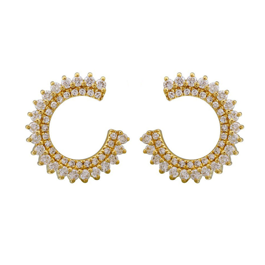 Gold Open Circle Diamond Earrings  - 14KT Gold - Monisha Melwani Jewelry