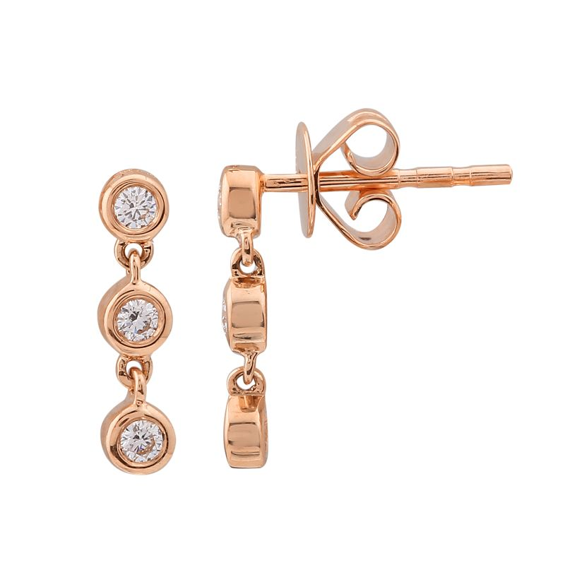 Gold Dangling Bezel Stud Earrings - 14KT Gold - Monisha Melwani Jewelry