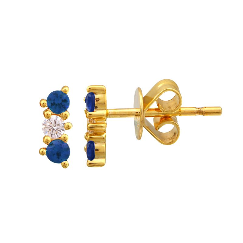Gold Triple Diamond and Sapphire Bar Earrings- 14KT Yellow Gold Studs- Monisha Melwani Jewelry