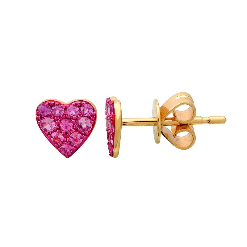 Gold Ruby With Color Rhodium Heart Earrings - 14KT Gold - Monisha Melwani Jewelry