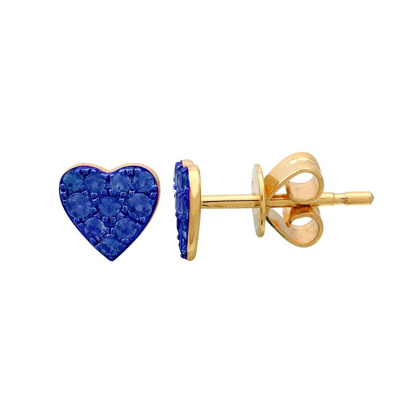 Gold Blue Sapphire with Color Rhodium Heart Earrings - 14KT Gold - Monisha Melwani Jewelry