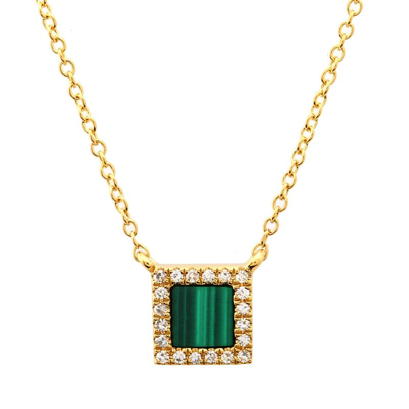 Gold Diamond Malachite Square Necklace - 14KT Gold - Monisha Melwani Jewelry