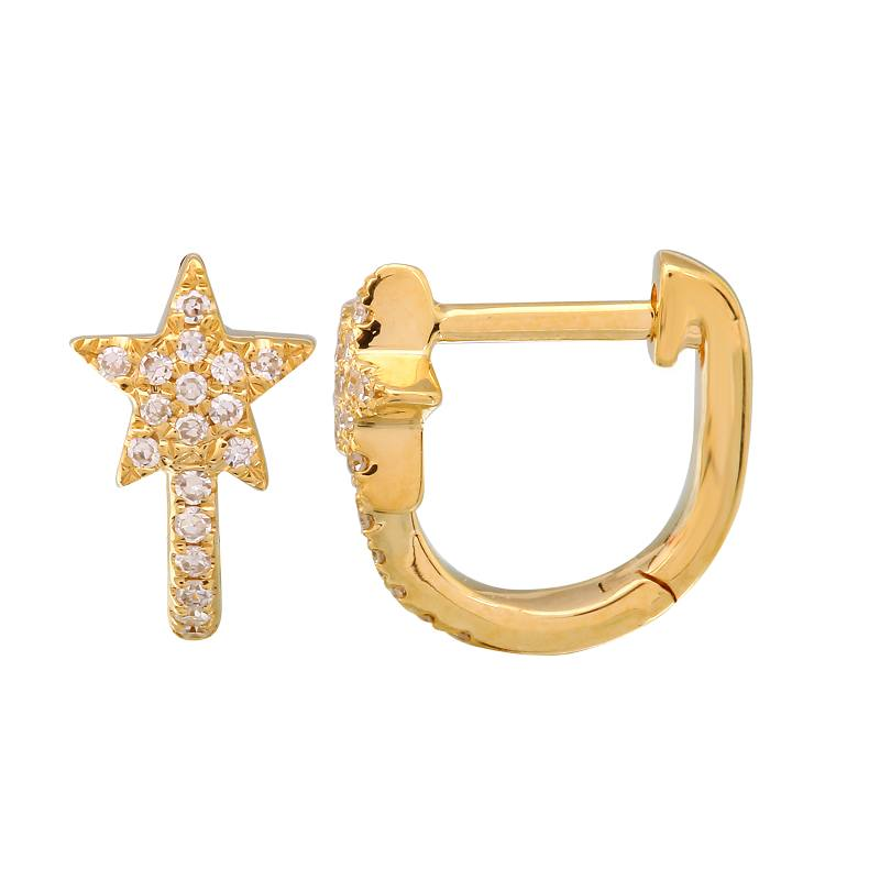 Gold Diamond Star Mini Hoop Earrings- 14KT Yellow Gold Huggie- Monisha Melwani Jewelry