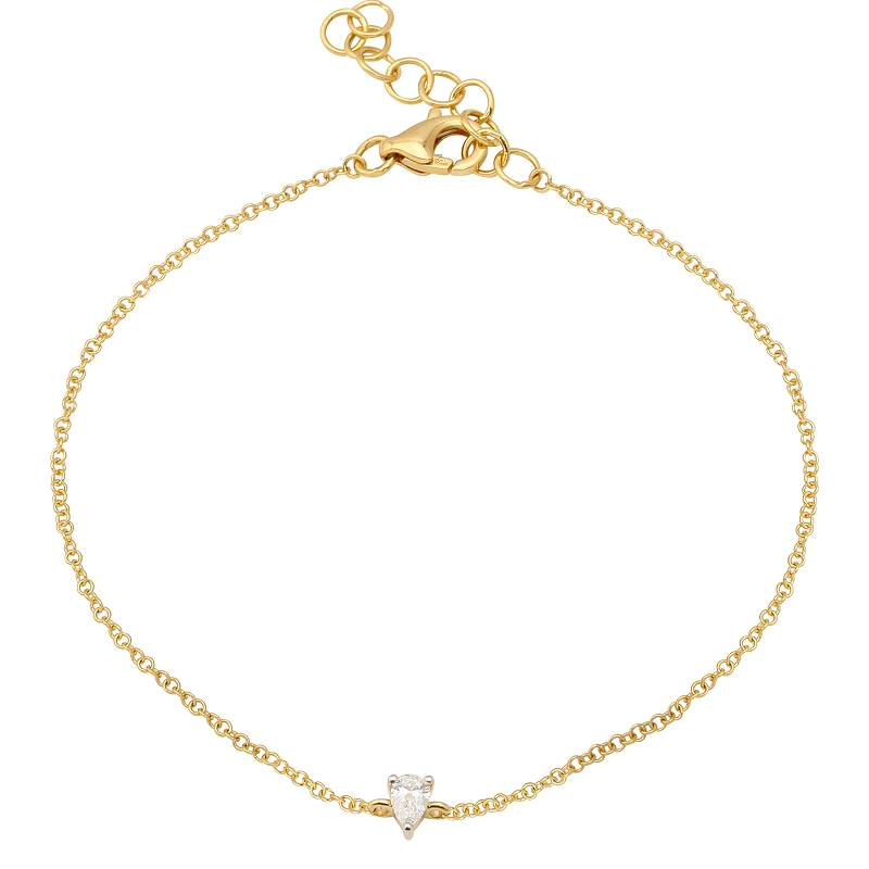 Gold Mini Pear Shaped Diamond Chain Bracelet - 14KT Gold - Monisha Melwani Jewelry