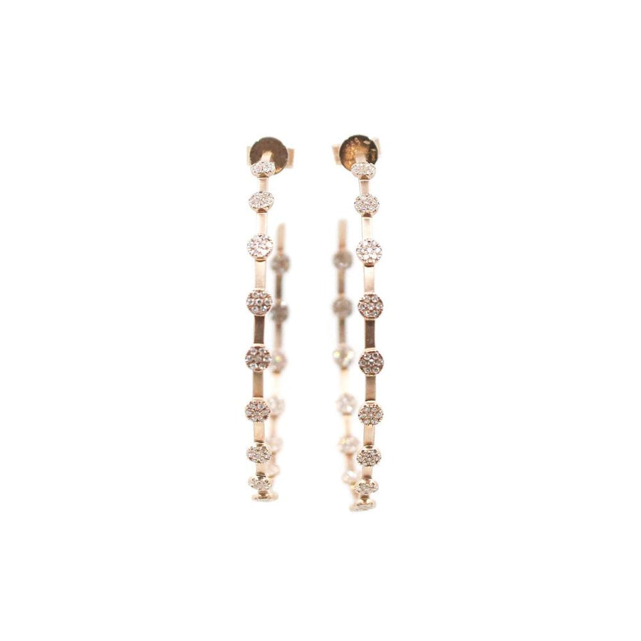 Rose Gold Diamond Hoop Earrings - 14KT Gold - Monisha Melwani Jewelry
