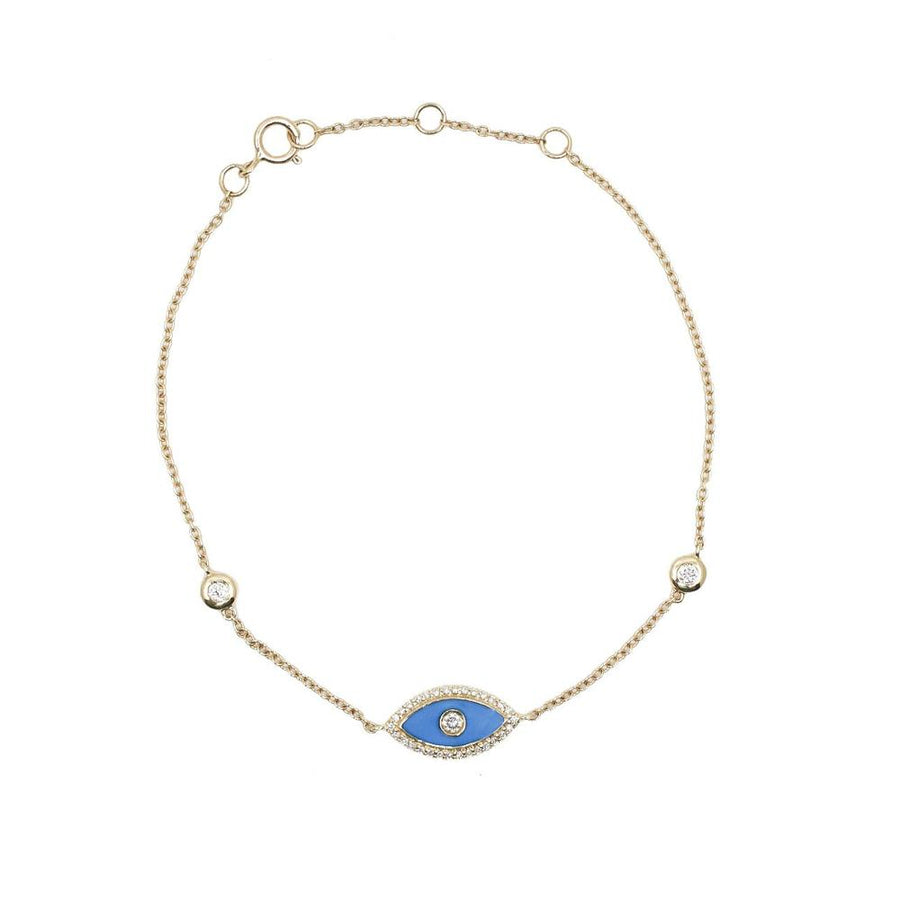 Double Bezel Enamel Evil Eye Bracelet - 18KT Gold - Monisha Melwani Jewelry