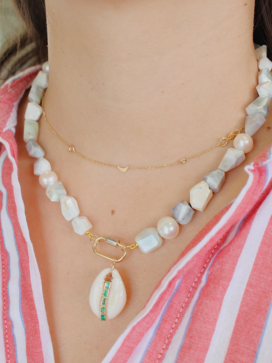 Uncut Moonstone Clasp Necklace - 14KT Gold - Monisha Melwani Jewelry