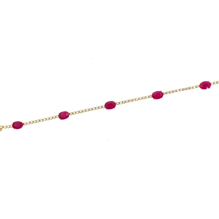Gold Diamond and Ruby Stone Tennis Bracelet - 18KT Gold - Monisha Melwani Jewelry