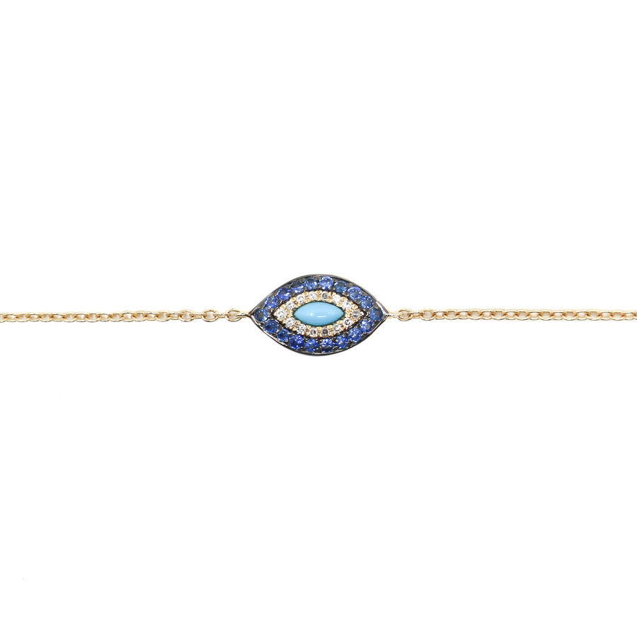 14KT Rose Gold Mini Evil Eye Bracelet Fine Jewelry