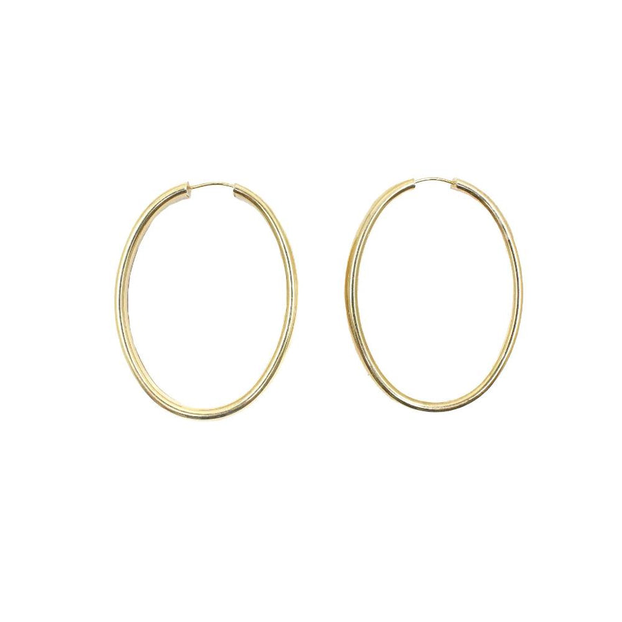 Gold Oval Jumbo Hoop Earrings - 14KT Gold - Monisha Melwani Jewelry