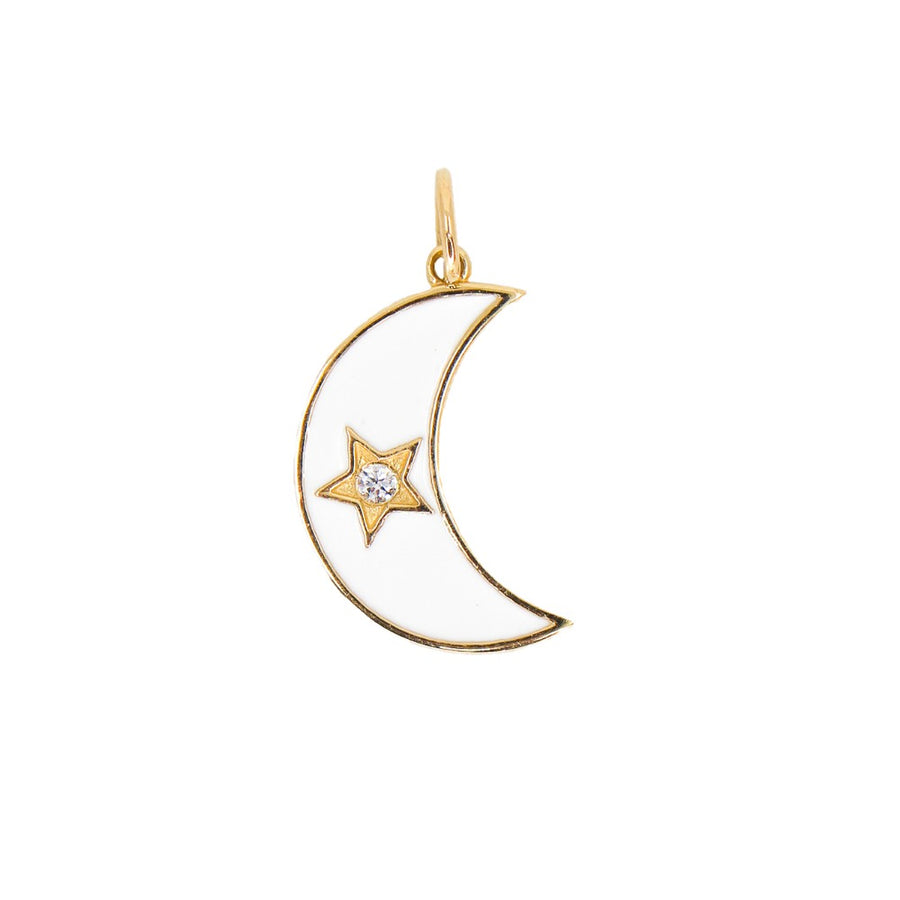 14KT Yellow Gold Diamond White Enamel Moon Star Pendant- Monisha Melwani Jewelry