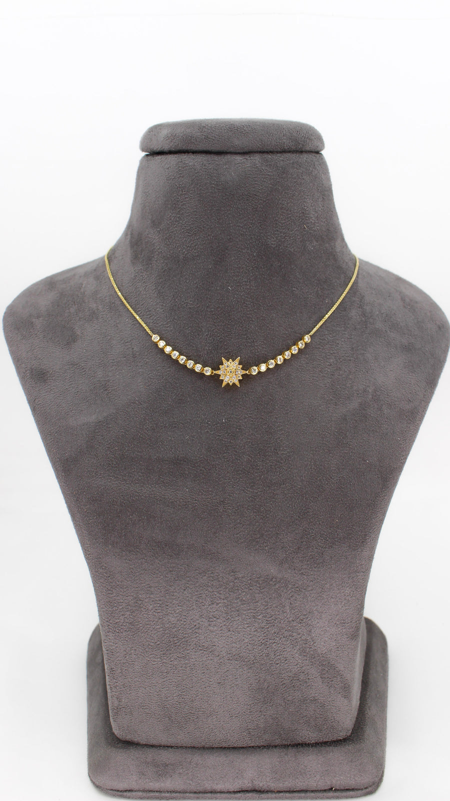 14KT Yellow Gold Diamond Star Half Tennis Necklace- Monisha Melwani Jewelry