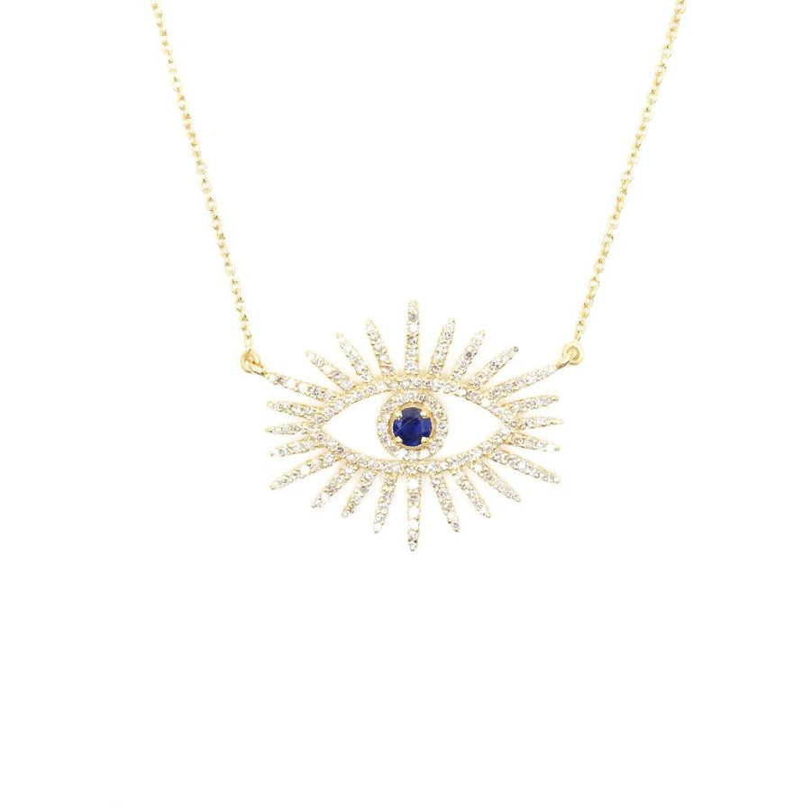 Gold Diamond Sapphire Evil Eye Necklace - 14KT Gold - Monisha Melwani Jewelry