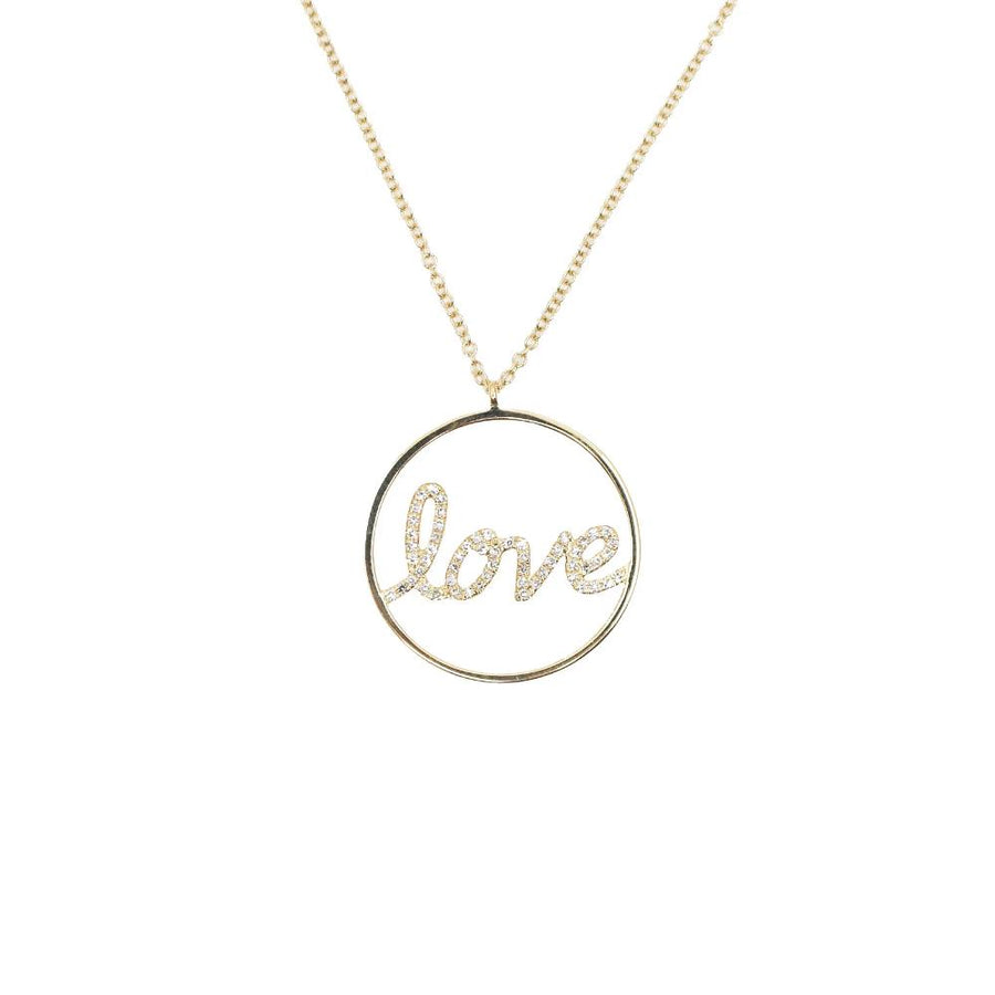 Gold Diamond Circle Love Necklace - 14KT Gold - Monisha Melwani Jewelry