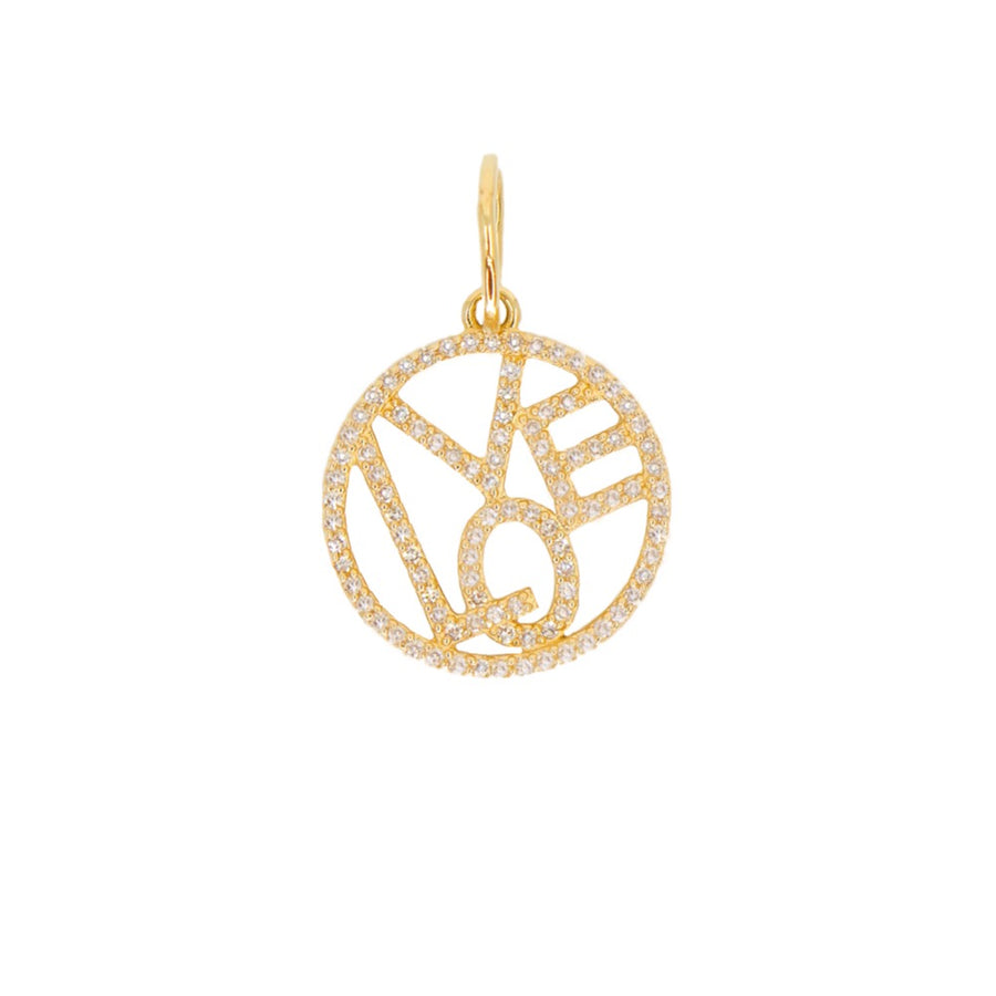 Diamond Cutout Love Round Pendant - 14KT Gold - Monisha Melwani Jewelry