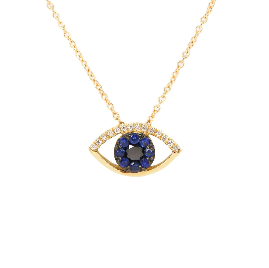 18KT Yellow Gold Diamond and Sapphire Cutout Evil Eye Necklace- Monisha Melwani Jewelry