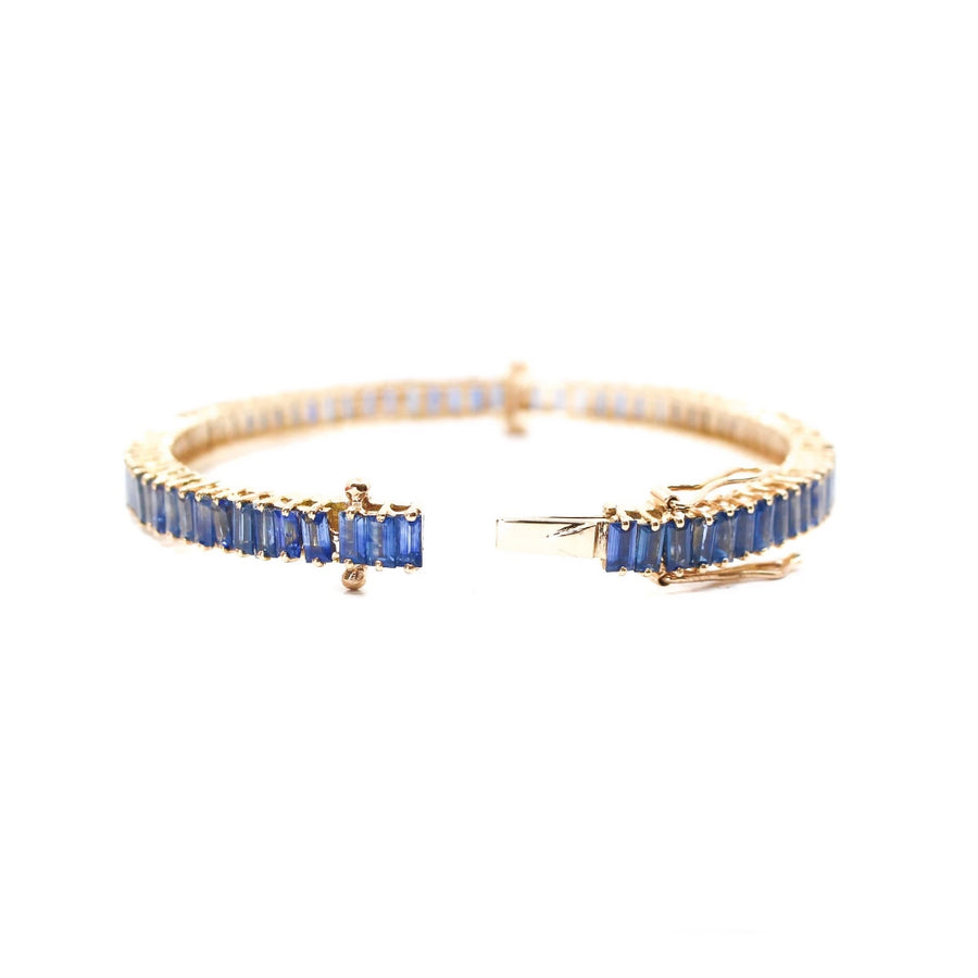 Gold Blue Sapphire Baguette Bangle - 14KT Gold - Monisha Melwani Jewelry
