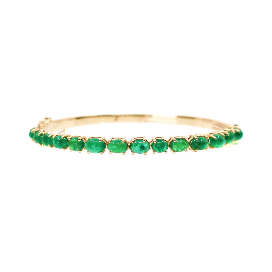 Gold Emerald Bangle - 14KT Gold - Monisha Melwani Jewelry