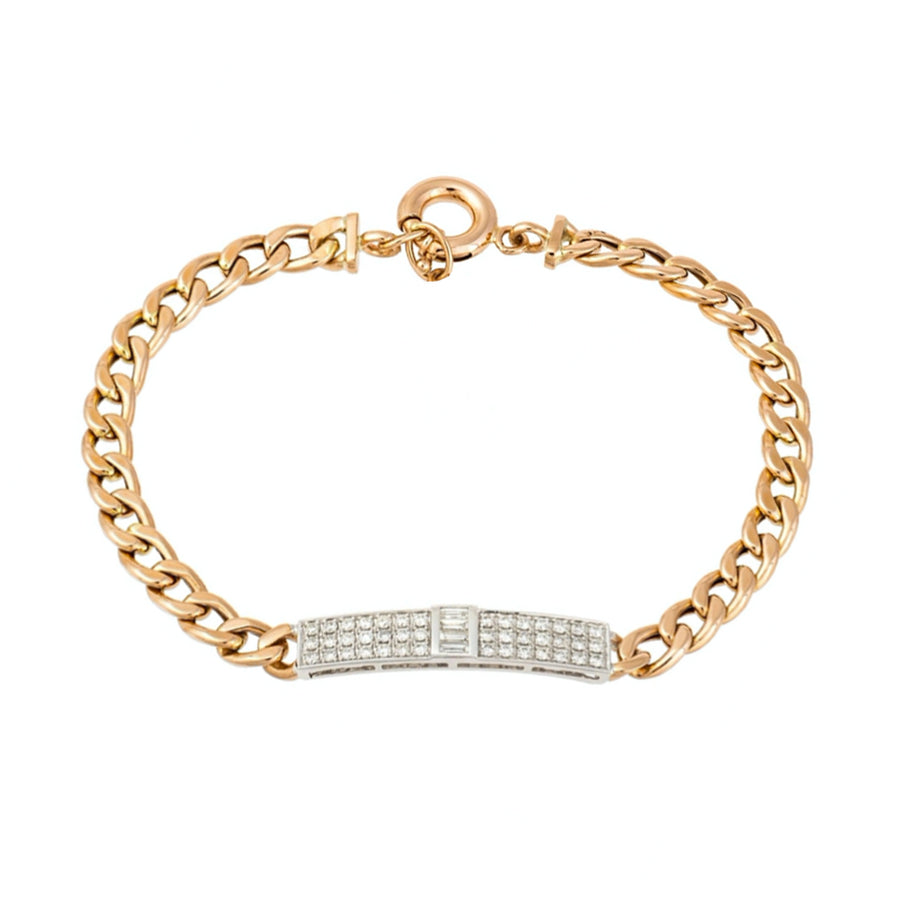 Diamond Bar Cuban Link Bracelet - 18KT Gold - Monisha Melwani Jewelry