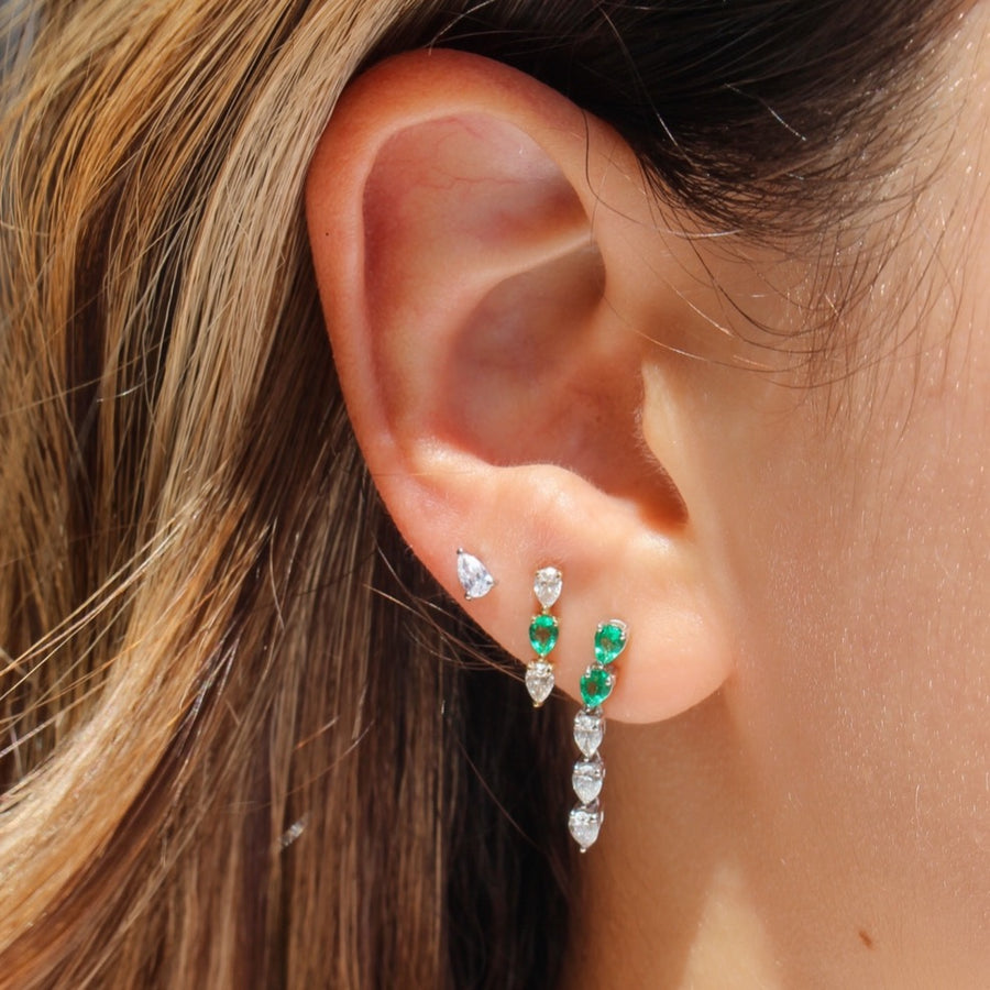 Three Pear Diamond and Emerald Studs - 14KT Gold - Monisha Melwani Jewelry
