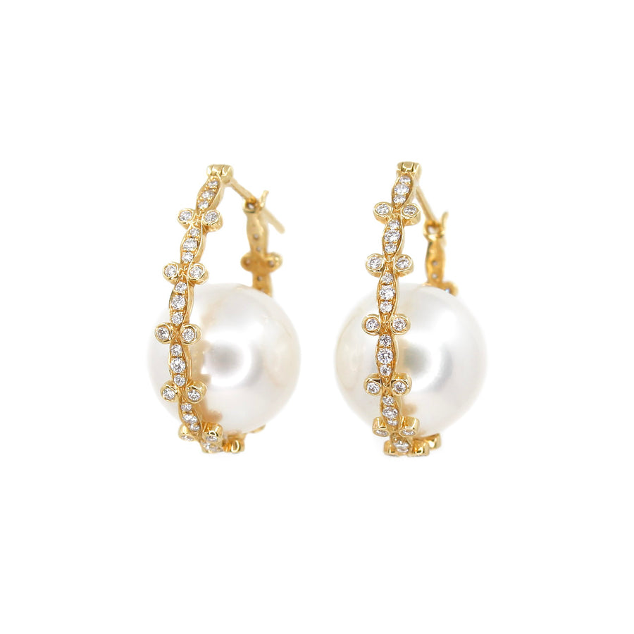 18KT Yellow Gold Bucket Pearl Diamond Hoop Earrings- Monisha Melwani Jewelry