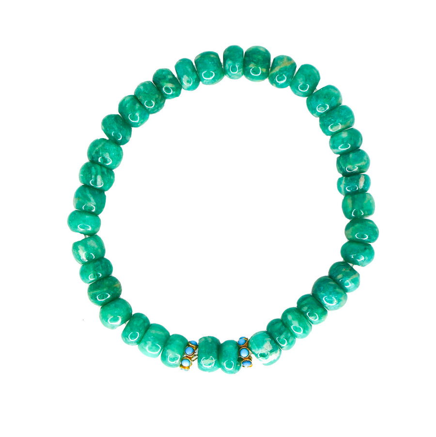 Mens Green Agate 18KT Gold & Turquoise Bracelet- Monisha Melwani Jewelry