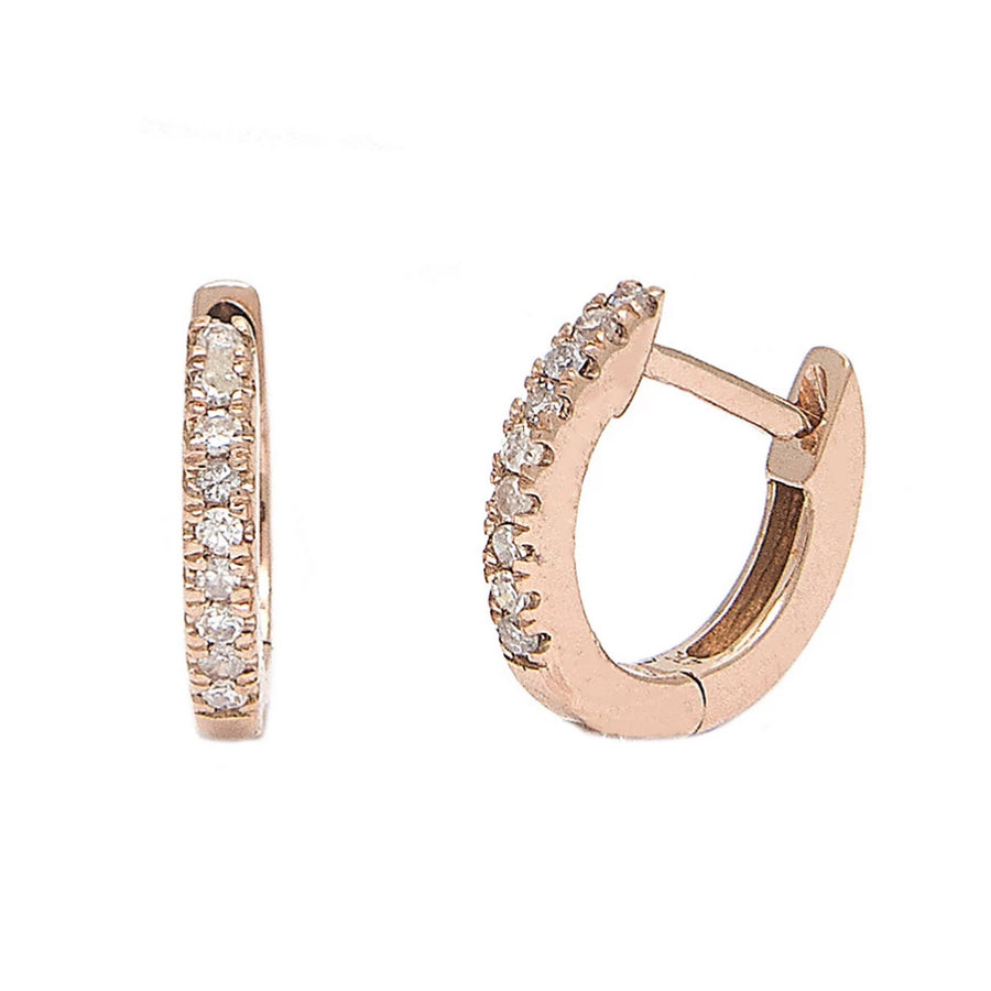 Gold Micro Pave Diamond Hoop Earrings - 14KT Gold - Monisha Melwani Jewelry