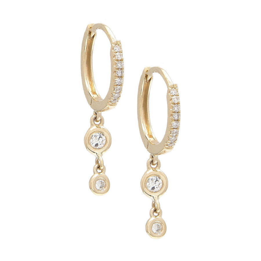 Gold Double Drop Bezel Diamond Hoop Earrings - 14KT Gold - Monisha Melwani Jewelry