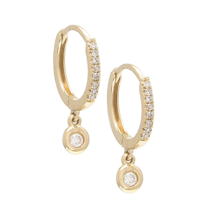 Gold Diamond Bezel Hoop - 14KT Gold - Monisha Melwani Jewelry