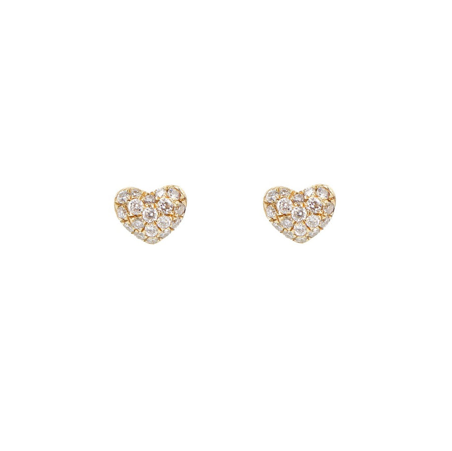 14KT Yellow Gold Mini Pave Heart Earrings- Monisha Melwani Jewelry