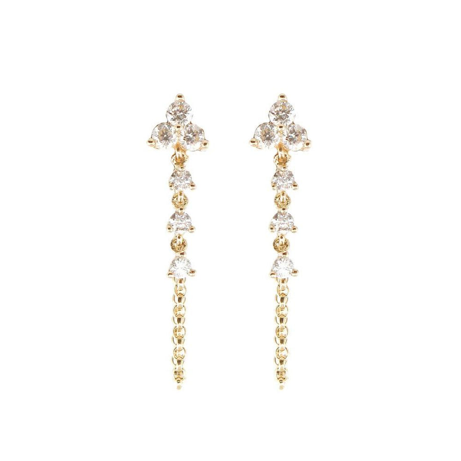 Diamond Trio Drop Earrings - 14KT Gold - Monisha Melwani Jewelry