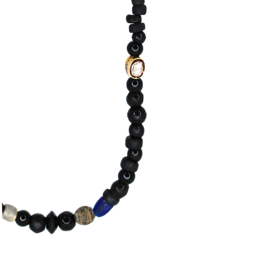 Mens Silver Diamond African Foye Beaded Necklace- Monisha Melwani Jewelry