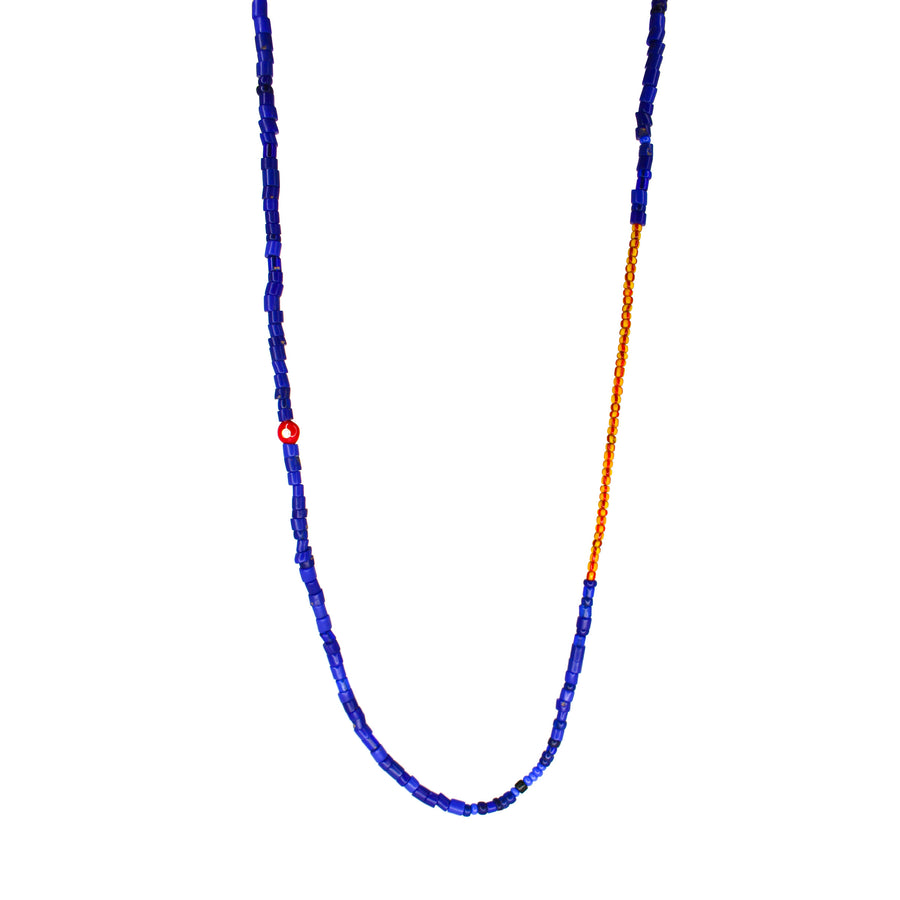 Mens 14KT Gold Enamel Blue & Red African Ghana Beaded Necklace- Monisha Melwani Jewelry