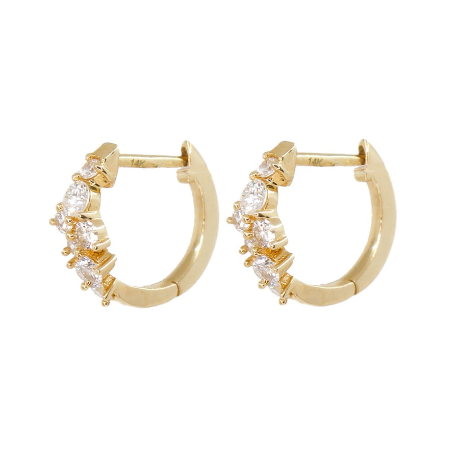 Diamond Cluster Mini Hoops - 14KT Gold - Monisha Melwani Jewelry