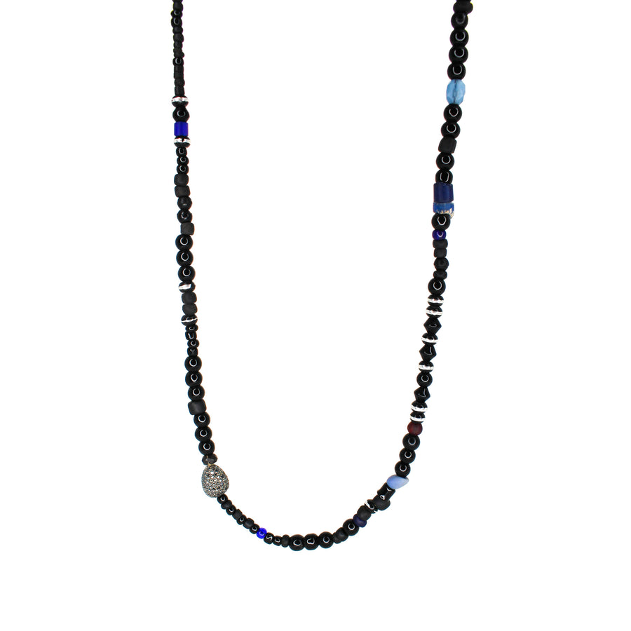 Mens Silver Black Diamond African Foye Beaded Necklace- Monisha Melwani Jewelry